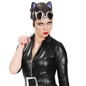 Catwoman are we? Sure we're not Amelia Earhart reemerging from the Wilson's Leather factory?