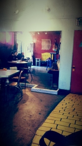 The UnUrban Café, where you can follow the yellow brick road (to the bathroom).
